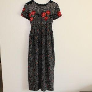 Vintage red rose on black dress